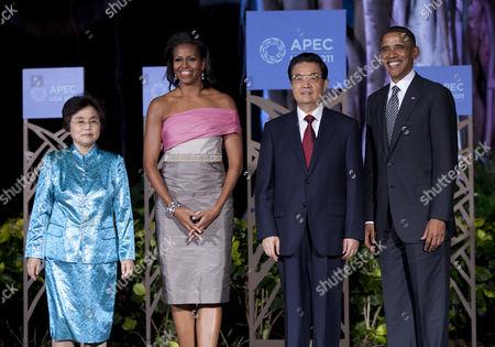 Liu Yongqing, First Lady Michelle Obama, Chinese President Hu Jintao and US President Barack Obama