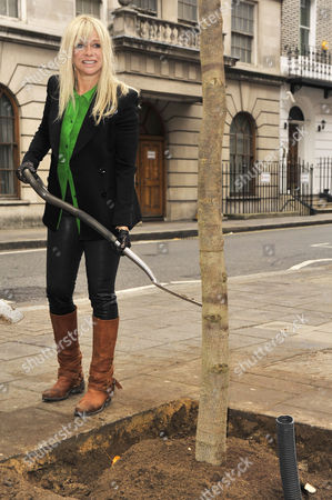 Stock Photo of Jo Wood planting a tree