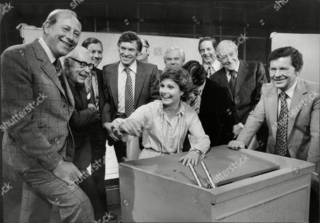 Television Newsreaders Get Together With Angela Rippon At Tv Centre. L-r Peter Woods John Snagg Corbet Woodall Bob Langley Kenneth Kendall John Tipson Bob Dougall Richard Baker