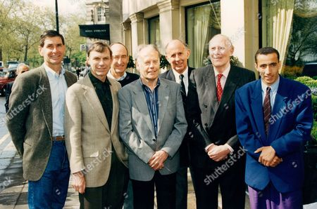 Athlete Sir Roger Bannister With World Mile Record Holders To Celebrate The 40th Anniversary Of Him Breaking The 4 Minute Mile L-r Jim Ryan Peter Snell Herb Elliot Derek Ibbotson John Landy Sir Roger Bannister And Current Holder Noureddine Morceli