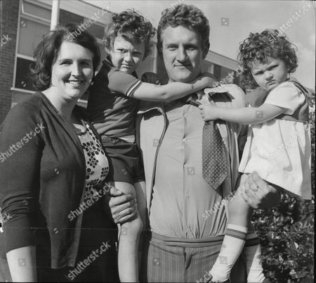 Pc Charles Wright Of Congleton Police Station With His Wife Janet Wright And Their Children Nicholas Wright And Tracey Wright 1974.