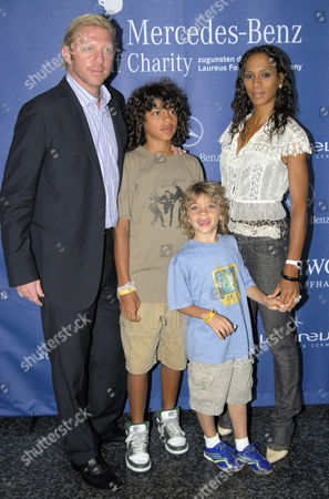 Boris Becker and ex-wife Barbara Becker with sons Noah Gabriel and Elias Balthasar at the Laureus Get-Together in Berlin, Germany