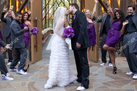 Tiffany Thornton and Christopher Carney with bridesmaid Demi Lovato and Wilmer Valderrama