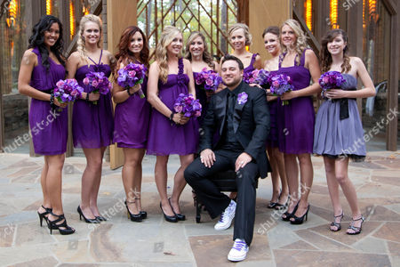 Christopher Carney and bridesmaid Demi Lovato