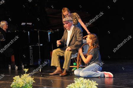 Clive Dunn OBE now 91 years old, came briefly out of retirement to take to the stage again to perform his hit No1 single 'Granddad' with his own granddaughters, Lydia and Alice