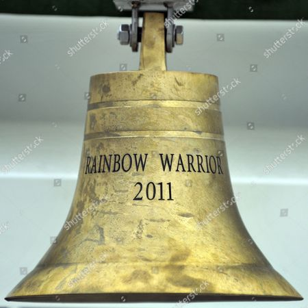 The bell at the bow of the Greenpeace flagship, Rainbow Warrior in South Quay in London's Docklands, after making her maiden voyage from Amsterdam