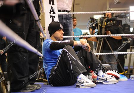 Boxing - David Haye V Audley Harrison - Adam Booth Watches David Haye's Trainer During A Work Out At The Ricky Hatton Gym In Manchester.