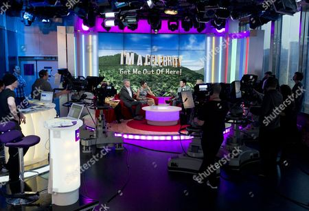 Kate Garraway, Adrian Chiles and Christine Bleakley with Colin McAllister and Justin Ryan, Studio, set, camera.