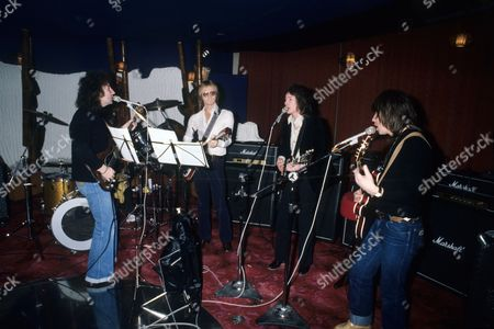 Smokie - Chris Norman, Terry Uttley, Alan Silson and producer Mike Chapman in Montreux