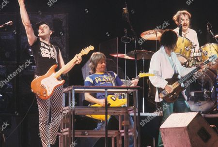 Stock Picture of Cheap Trick - Rick Nielsen, Bad Company's Mick Ralphs, Tom Petersen and Bun E Carlos at the Reading Festival