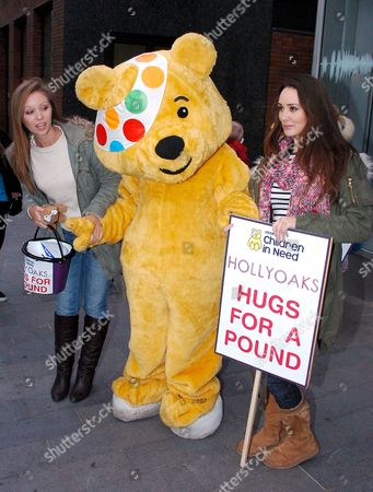 Tamaryn Payne and Claire Cooper with Pudsey Bear