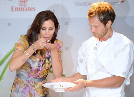 Crown Princess Mary joined the Danish Agriculture and Food Council to celebrate Danish gastronomy, with Rasmus Kofoed from Copenhagen