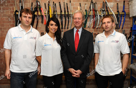 Christine Bleakley and Chairman of Barclays Marcus Agius with Bikeworks staff