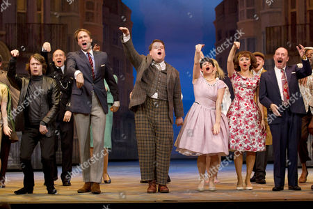 Daniel Rigby (Alan Dangle), Oliver Chris (Stanley Stubbers), James Corden (Francis Henshall), Jemima Rooper (Rachel Crabbe), Claire Lams (Pauline Clench) and Fred Ridgeway (Charlie Clench)