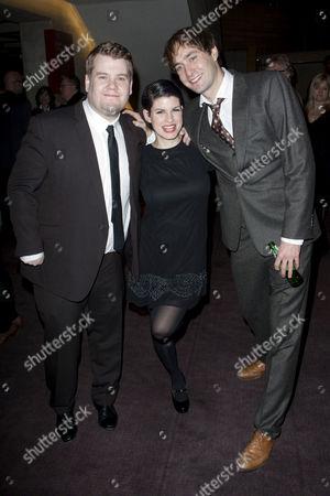 James Corden (Francis Henshall), Jemima Rooper (Rachel Crabbe) and Oliver Chris (Stanley Stubbers)