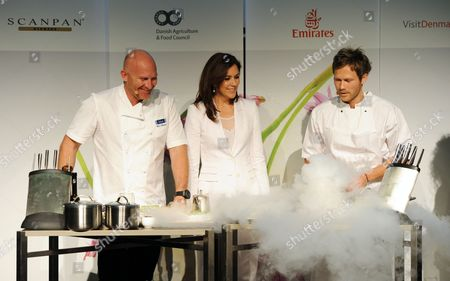 Stock Image of Crown Princess Mary joined the Danish Agriculture and Food Council to celebrate Danish gastronomy, with Australian chef Matt Moran and Rasmus Kofoed from Copenhagen