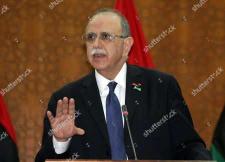 Editorial image of Libyan interim Prime Minister Abdel Rahim el-Keeb press conference, Tripoli, Lybia - 22 Nov 2011
