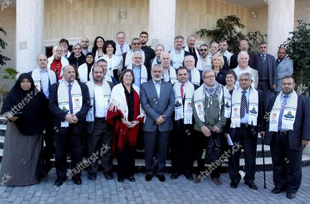 Stock Picture of Clare Short (centre left), head of the delegation and former Labour Cabinet member, with Ismail Haniyeh (C), the Palestinian Prime Minister and other members of the delegation