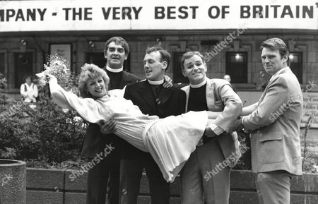 Editorial photo of Actress Carol Hawkins One Of The Stars Of See How They Run Marries Marries Martin Padbury Marylebone Registry Office On Tuesday They Are Pictured Outside The Shaftesbury Theatre With Derek Nimmo Christopher Timothy And Roger Mills