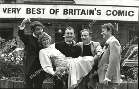 Actress Carol Hawkins One Of The Stars Of See How They Run Marries Marries Martin Padbury Marylebone Registry Office On Tuesday They Are Pictured Outside The Shaftesbury Theatre With Derek Nimmo Christopher Timothy And Roger Mills