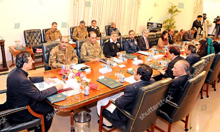 Pakistan Prime Minister Yousaf Raza Gillani with Chief of Army Staff General Ashfaq Parvez Kayani presiding a meeting of the defence committee of the Cabinet