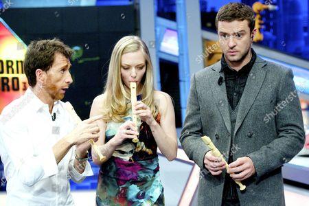 Pablo Motos, Amanda Seyfried and Justin Timberlake