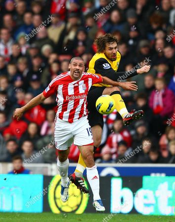 Jonathan Walters of Stoke City and Gael Givet of Blackburn Rovers in action