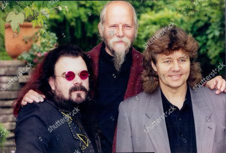 Singer And Musician Roy Wood (left) With Musician's Pete Frame And Bev Bevan