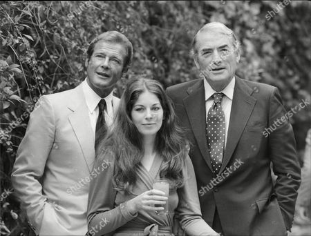 Actor Roger Moore Actress Barbara Kellerman And Gregory Peck