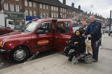 Tanvi Vyas Who Will Be Affected By The Cuts In Taxi Cab Discounts For The Disabled With Cabbie Ray Barrett Picture By Glenn Copus
