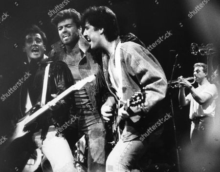 Editorial photo of Wham On Stage For Their Final Video. L-r: Andrew Ridgley George Michael And David Austin From Wham!