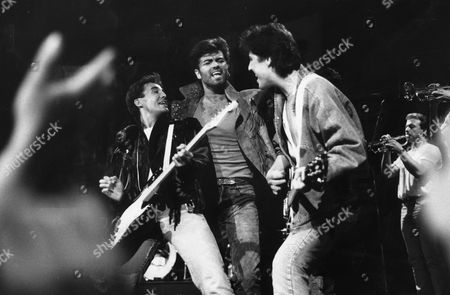 Wham On Stage For Their Final Video. L-r: Andrew Ridgley George Michael And David Austin From Wham!
