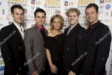 Stock Photo of Oliver Seymour-Marsh, Michael Malarkey, Francesca Jackson, Ben Goddard and Derek Hagen