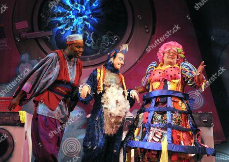 Hammed Animashaun as Aladdin, Steven Webb as Wishy Washy, Shaun Prendergast as Widow Twankey