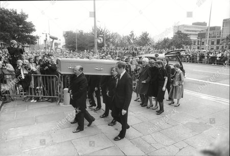 Funeral Of Actress Pat Phoenix At Holy Name Church In Manchester. Actor Tony Booth Follows The Coffin