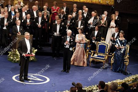Israeli scientist Dan Shechtman receives the Nobel Prize for Chemistry from King Carl Gustaf of Sweden