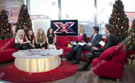 Little Mix - Perrie Edwards, Leigh-Anne Pinnock, Jesy Nelson and Jade Thirlwall with Kate Garraway, John Stapleton and Steve Hargrave