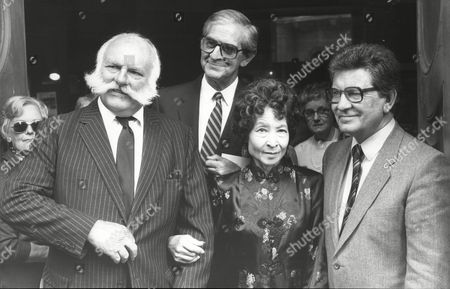 Editorial image of Memorial Service To Roy Plomley At All Souls Church Langham Place. Pictured Mrs Plomley With Actor Jimmy Edwards Newsreader Kenneth Baker And Television Presenter Dennis Norden