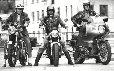Sir Ralph Richardson Michael Bryant And Nicky Henson On Their Motor Bikes