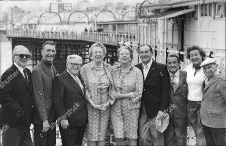 The Cast Of Music Hall At The Palace Pier Brighton 1973. Arthur Lane Nat Jackley Sandy Powell Elsie Waters Bob Pearson Alf Pearson Barbara Sumner And Leslie Sarony.