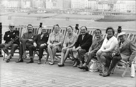 The Cast Of Music Hall In Deck Chairs At The Palace Pier Brighton 1973. Arthur Lane Nat Jackley Sandy Powell Elsie Waters Bob Pearson Alf Pearson Barbara Sumner And Leslie Sarony.