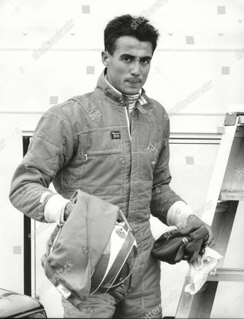 Stock Picture of Andrew Ridgley Former Member Of The Eighties Pop Band Wham In His New Career As A Formula Three Driver. He Leaves His Motor Caravan To Go To His Car At Brands Hatch
