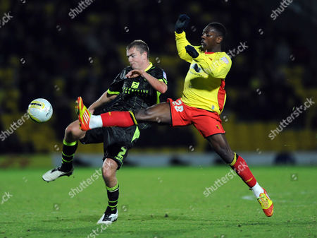 Paul Connolly of Leeds United and Marvin Sordell of Watford