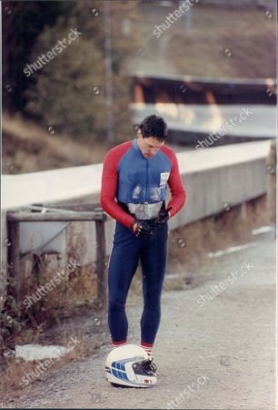 Former Olympic Sprinter Allan Wells Of Parachute Regiment No 2 British Bobsleigh Team Winterberg Germany During Four-man National Championships 1990. Shows Wells After Falling From Bobsleigh.