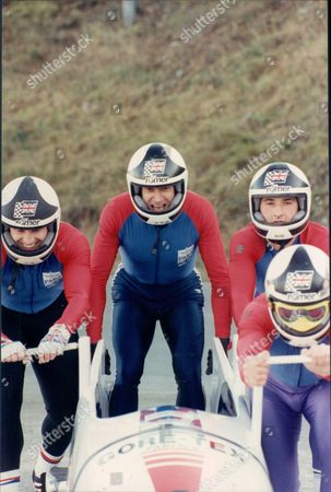 Former Olympic Sprinter Allan Wells With Parachute Regiment No 2 British Bobsleigh Team Winterberg Germany For Four-man National Championships 1990.
