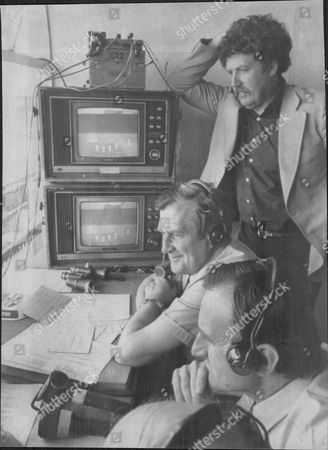 Colin Welland Actor And Writer In The Bbc's Cricket Commentary Box With Commentators Jim Laker And Ted Dexter 1979.