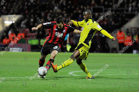 Steven Gregory of AFC Bournemouth is tackled by Lecsinel Jean-Francois of Sheffield United