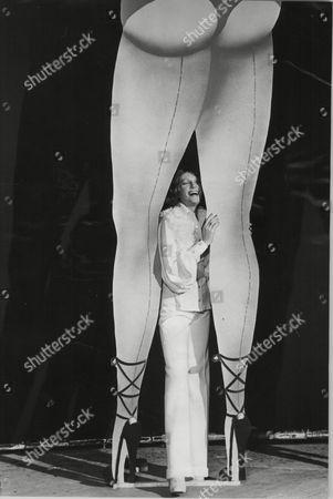 Jenny Runacre Actress Between Cardboard Legs At Elstree Studios For Film The Final Programme 1973.
