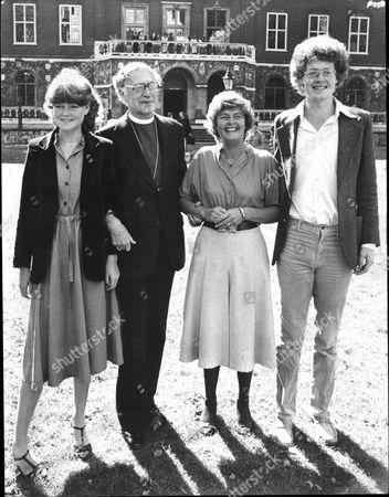 The Right Reverend Robert Runcie Archbishop Of Canterbury With Wife Rosalind Runcie Their Son James Runcie And Daughter Rebecca Runcie 1979.