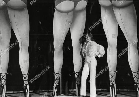 Jenny Runacre Actress Standing By Cardboard Legs At Elstree Studios For Film The Final Programme 1973.